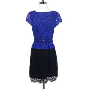 Nanette Lepore Blue & Black Belted Lace Dress